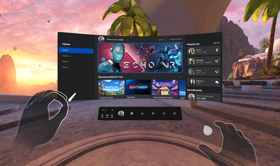 The main menu of the Oculus Quest 2, showing the home menu and two hands.