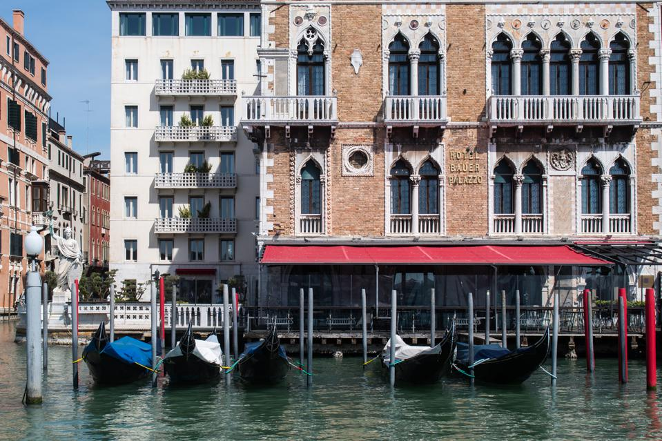 hotel facade in Venice on canal