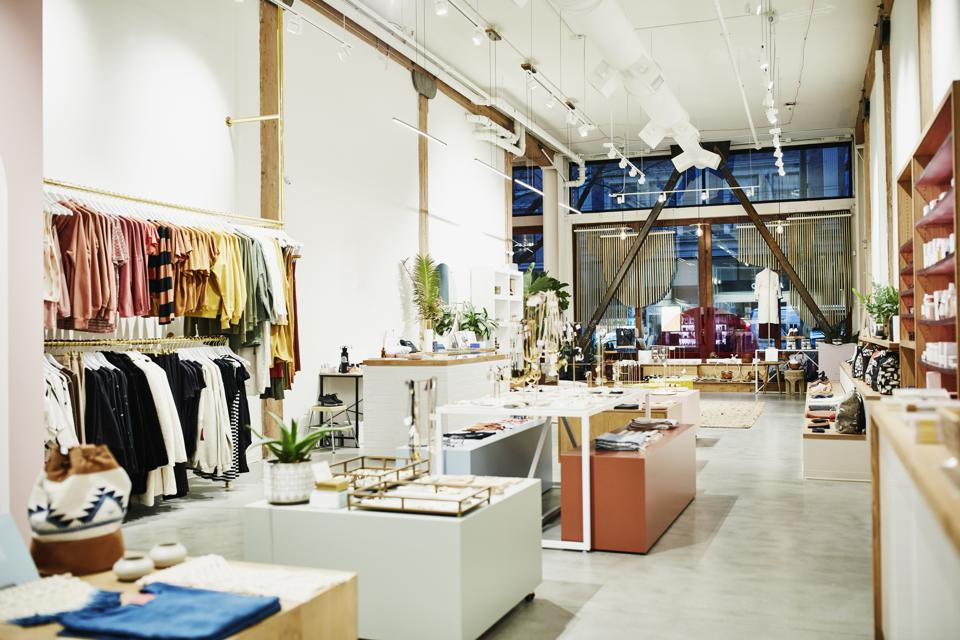 Interior of clothing boutique