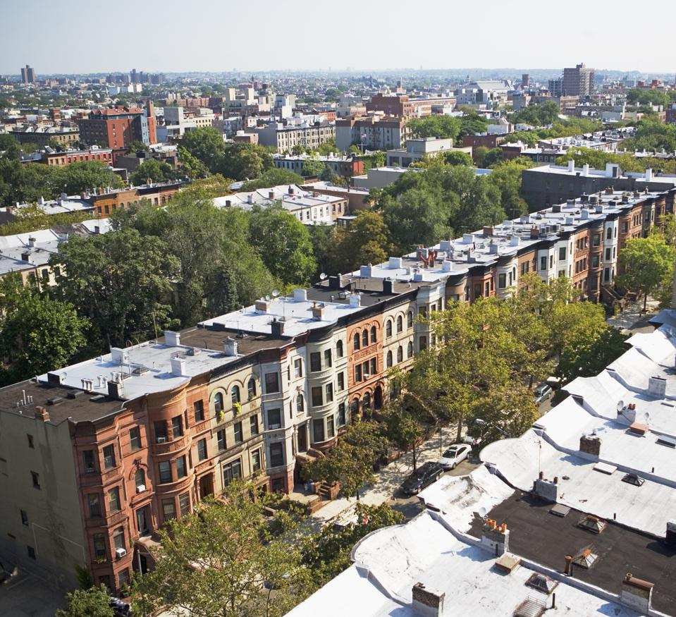 View of rowhouses in Brooklyn, New York
