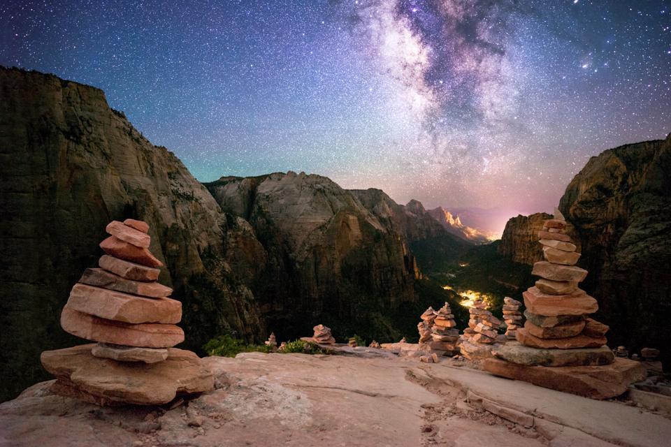 Rock piles, Angel's Landing, Zion National Park, Utah, America, USA