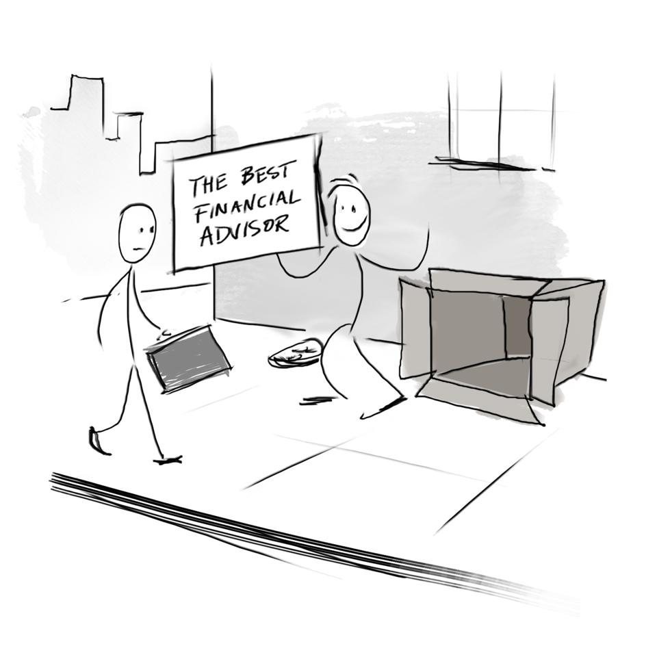 Stickmen cartoon of a homeless guy living out of a cardboard box with a sign reading ″best financial advisor″