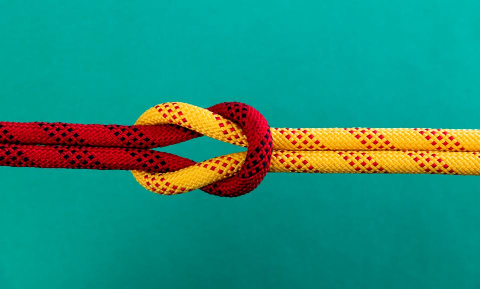 Reef knot on green background