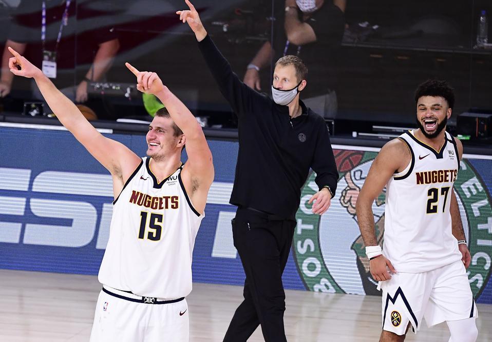 Denver Nuggets v Los Angeles Clippers - Game Seven Nikola Jokic and Jamal Murray