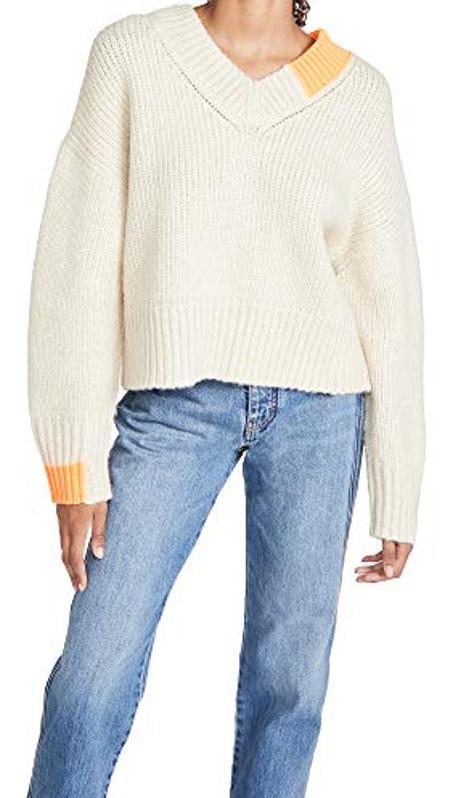 Amazon Prime Day Helmut Lang Women's Camel V Neck Sweater