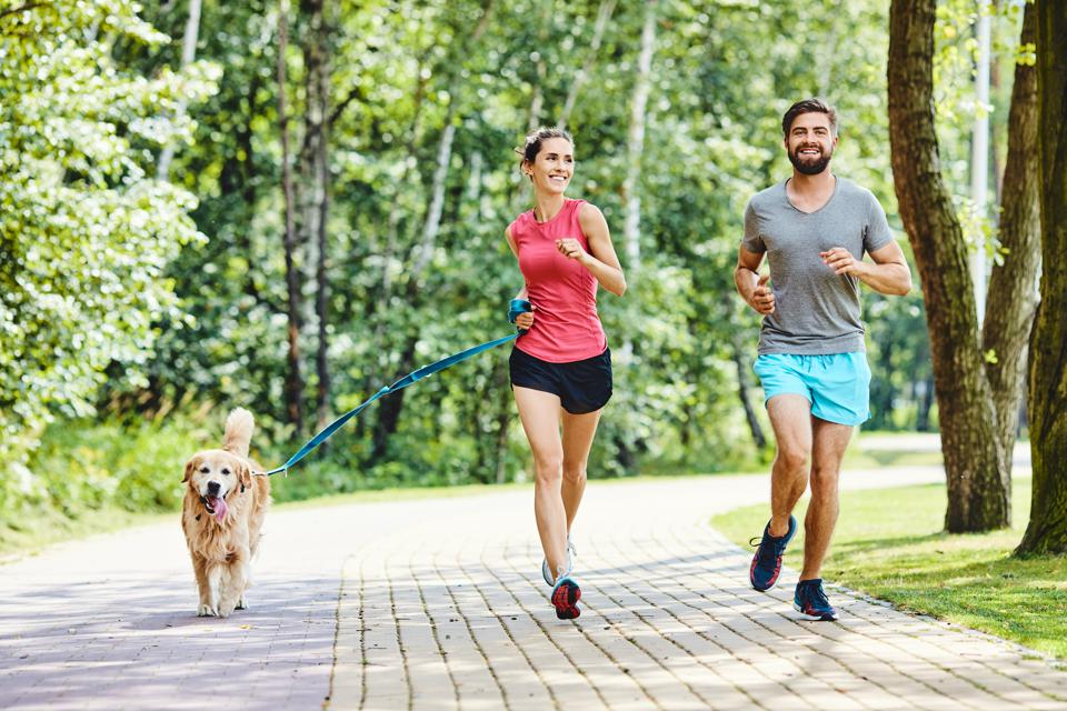 Happy couple running with dog in park