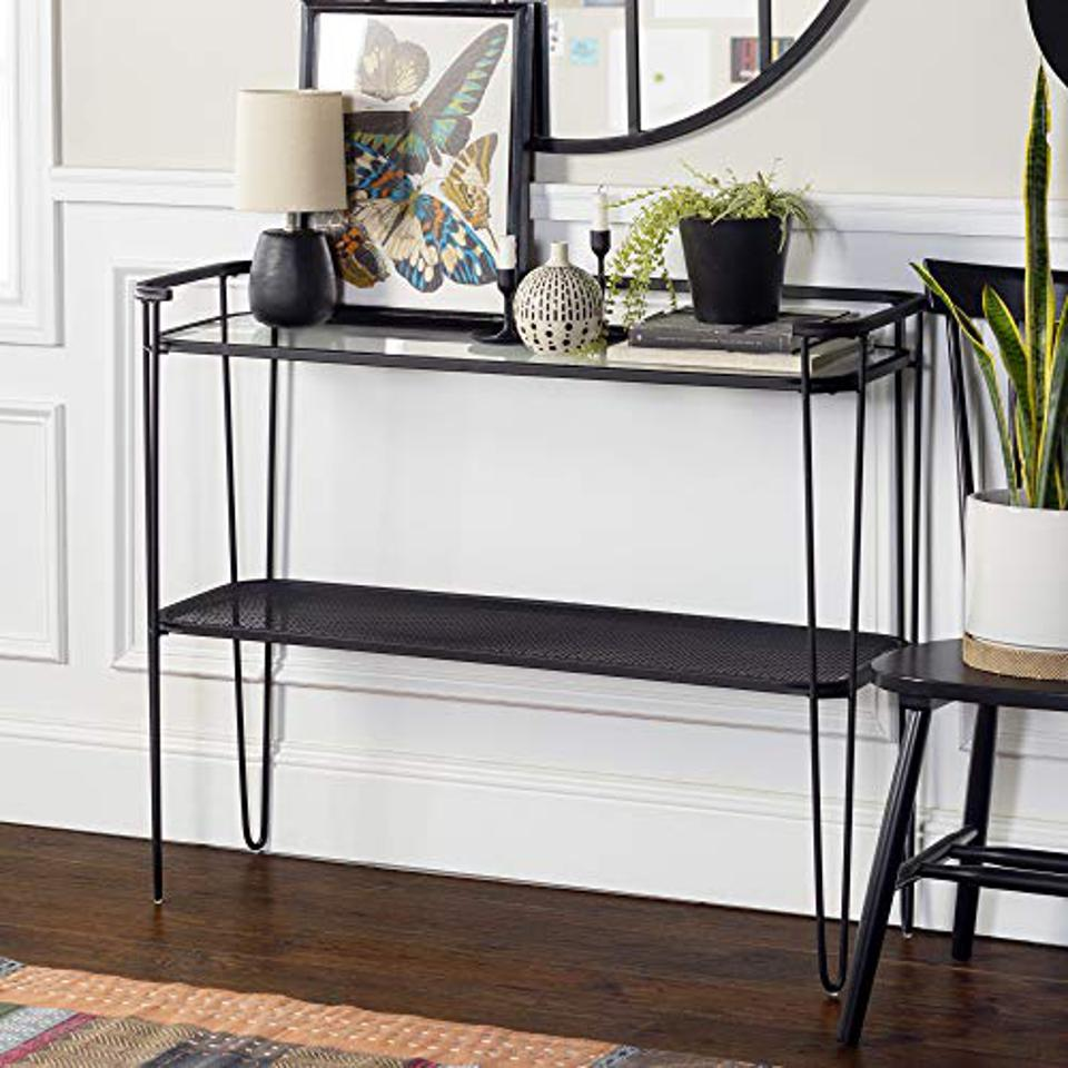 Walker Edison Furniture Company Mid Century Hairpin Metal Entryway Accent Storage Shelf Entry Living Room End Table, Clear Glass