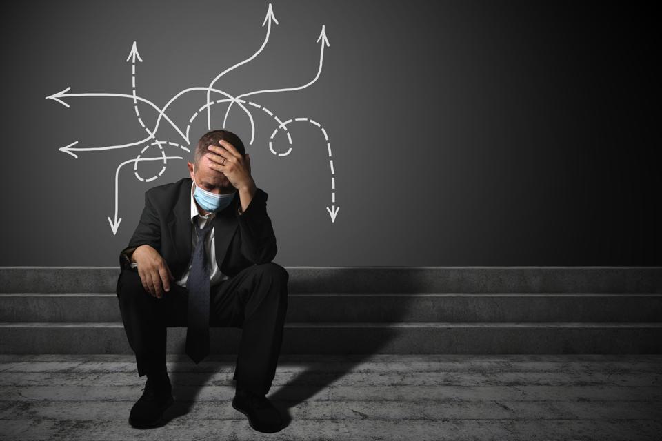 Businessman problem stress unemployment idea thinking