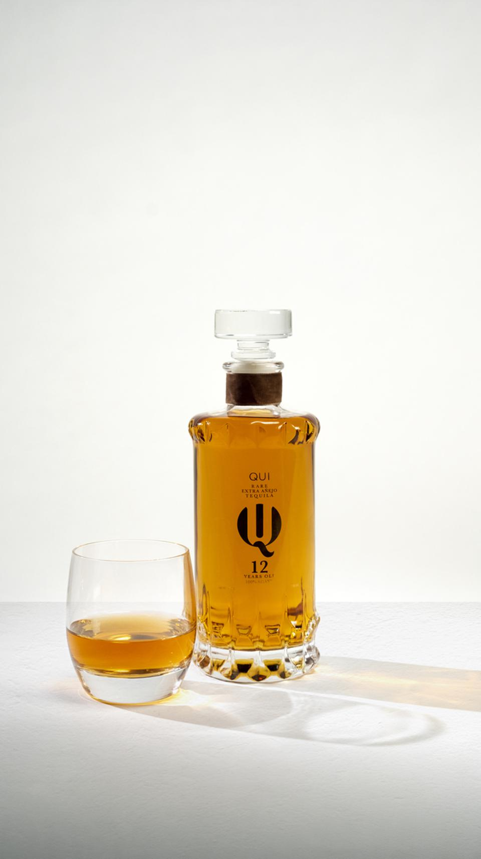 QUI Rare, like many of the tequilas on this list, features a dark amber color, more reminiscent of whisky or brandy than tequila.