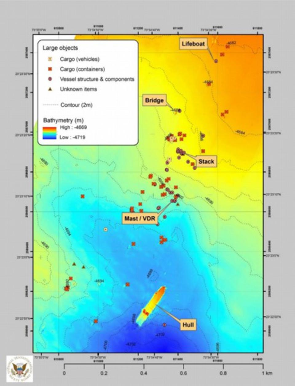 Map showing the VDR had gotten separated from the main hull of the vessel by the time it hit the seafloor