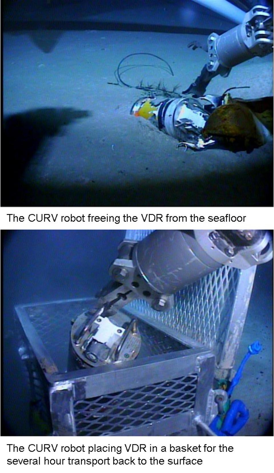 Images taken from CURV as the VDR was retrieved from the seabed and placed safely in a metal basket for the multi-hour, slow ascent to the surface.