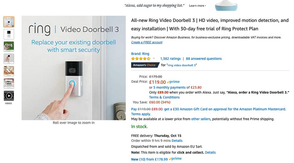 Amazon listing for Ring Doorbell 3 showing Alexa discount