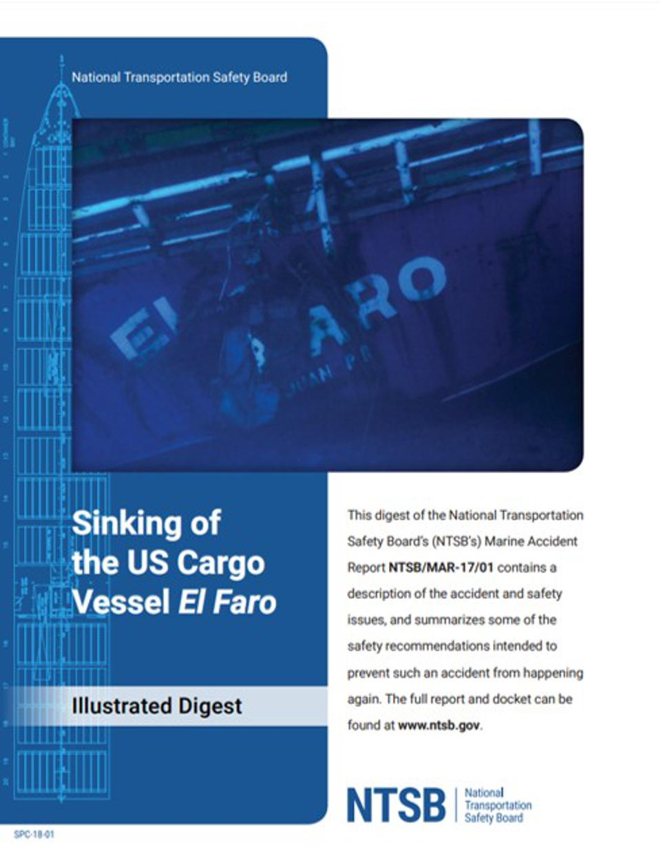 The 16 page illustrated digest of the Sinking of the US Cargo Vessel El Faro