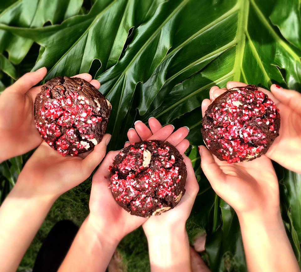 Three pairs of hands each holding a chocolate cookie with green leaves in the background