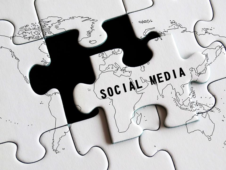 Social media missing puzzle concept.