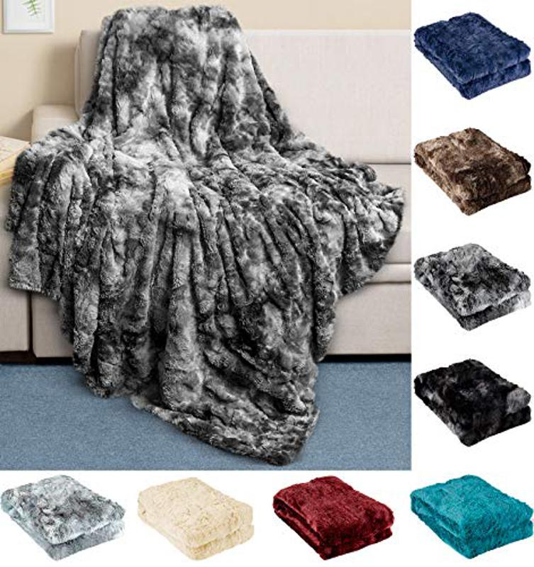 Prime Day deal Everlasting Comfort Luxury Faux Fur Throw Blanket - Ultra Soft and Fluffy