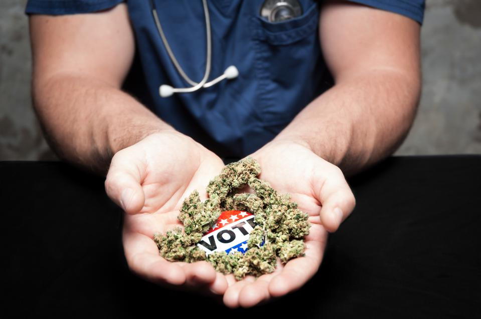 A health care worker cupping a Vote campaign button and cannabis
