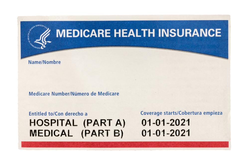 Blank USA medicare health insurance card isolated against white background