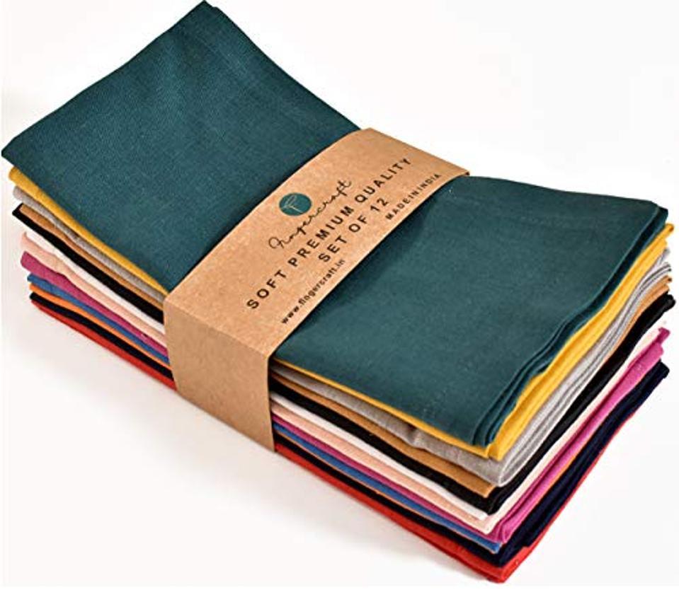 FINGERCRAFT- Cloth Napkins,18X18 Natural Cotton Linen Fabric, Set of 12 Pack