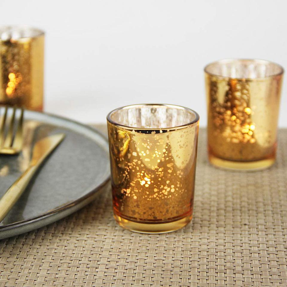 Set of 12 Mercury Glass Tealight Candle Holders