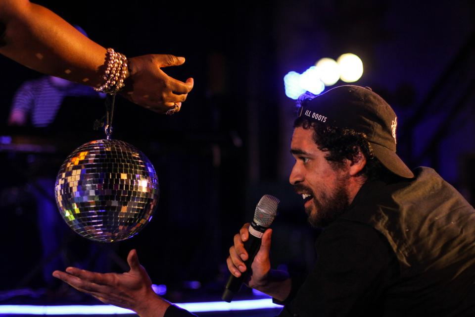 Anthony Martinez-Briggs with a disco ball