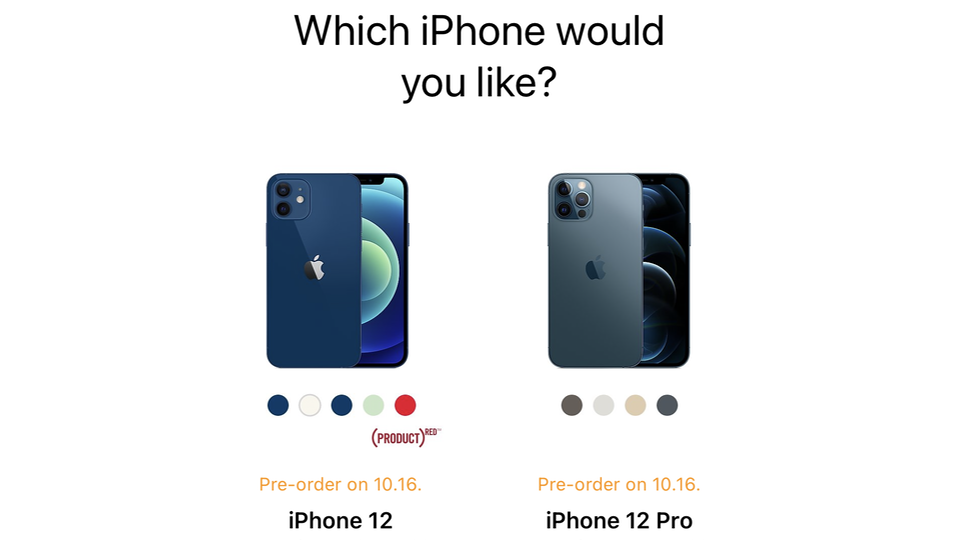 iPhone 12 pre-order page