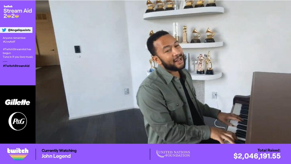 John Legend performing during Tiltiffy-powered Stream Aid fundraiser on Twitch