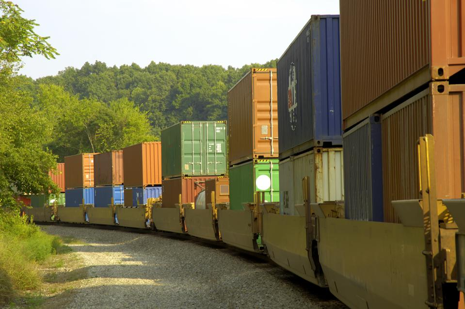 Long freight train hauls cargo