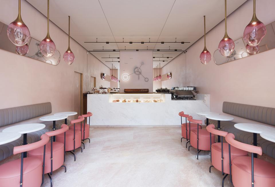 pink interiors of the Connaught patisserie