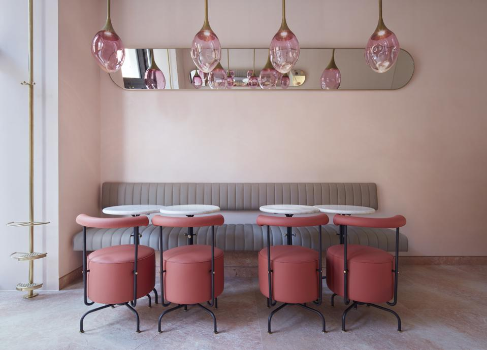 pink interior of new Connaught patisserie