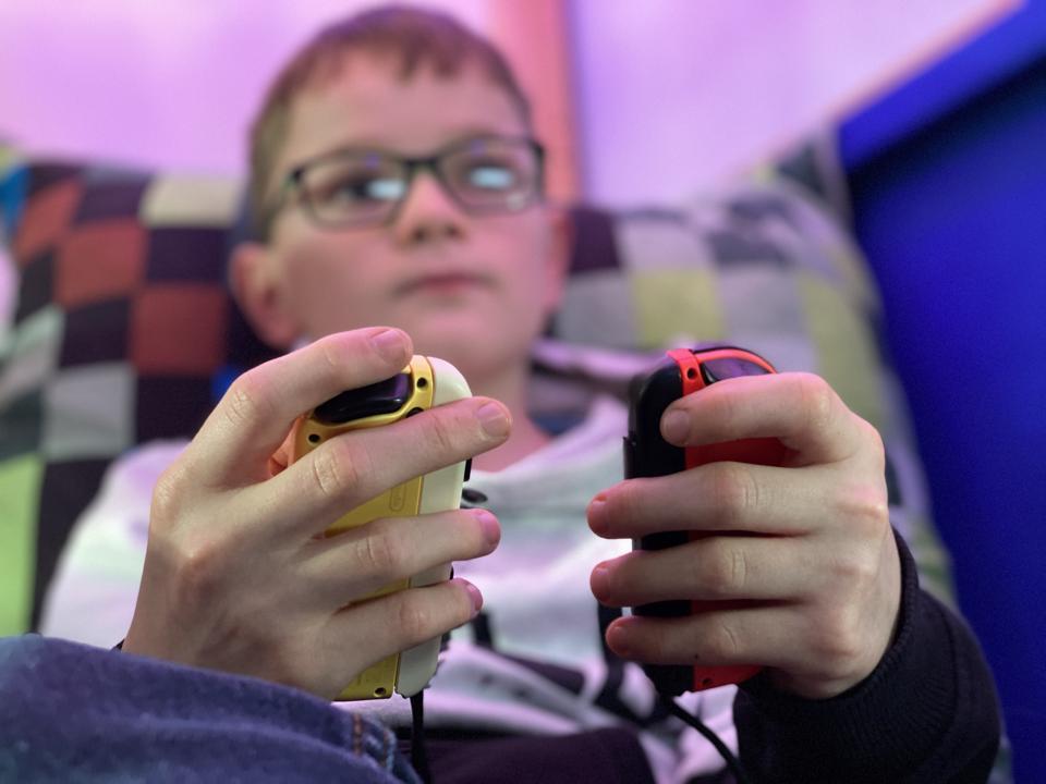 Boy Plays Mario
