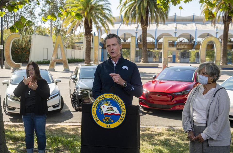 California Governor Gavin Newsom announces California's ban on Gas Vehicles
