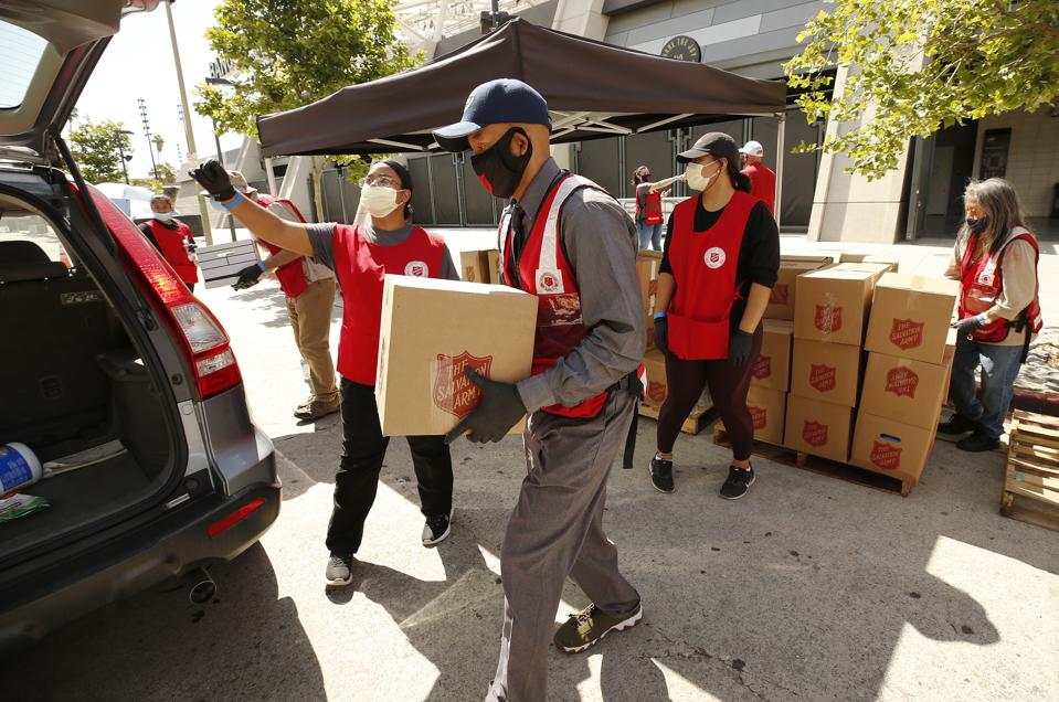 The Salvation Army distributes 2,000 boxes of food to pre-registered local Angelenos.