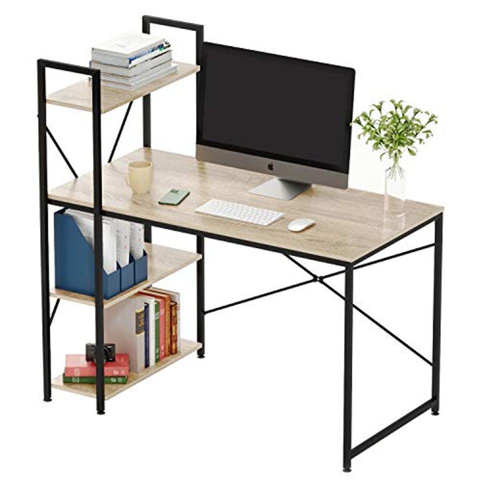 Bestier Computer Desk with Shelves,Writing Desk with Storage Bookshelf Reversible Study Table Office Corner Desk with Shelves Home Office Desk with Bookshelf Easy Assemble (47 Inch, Oak)