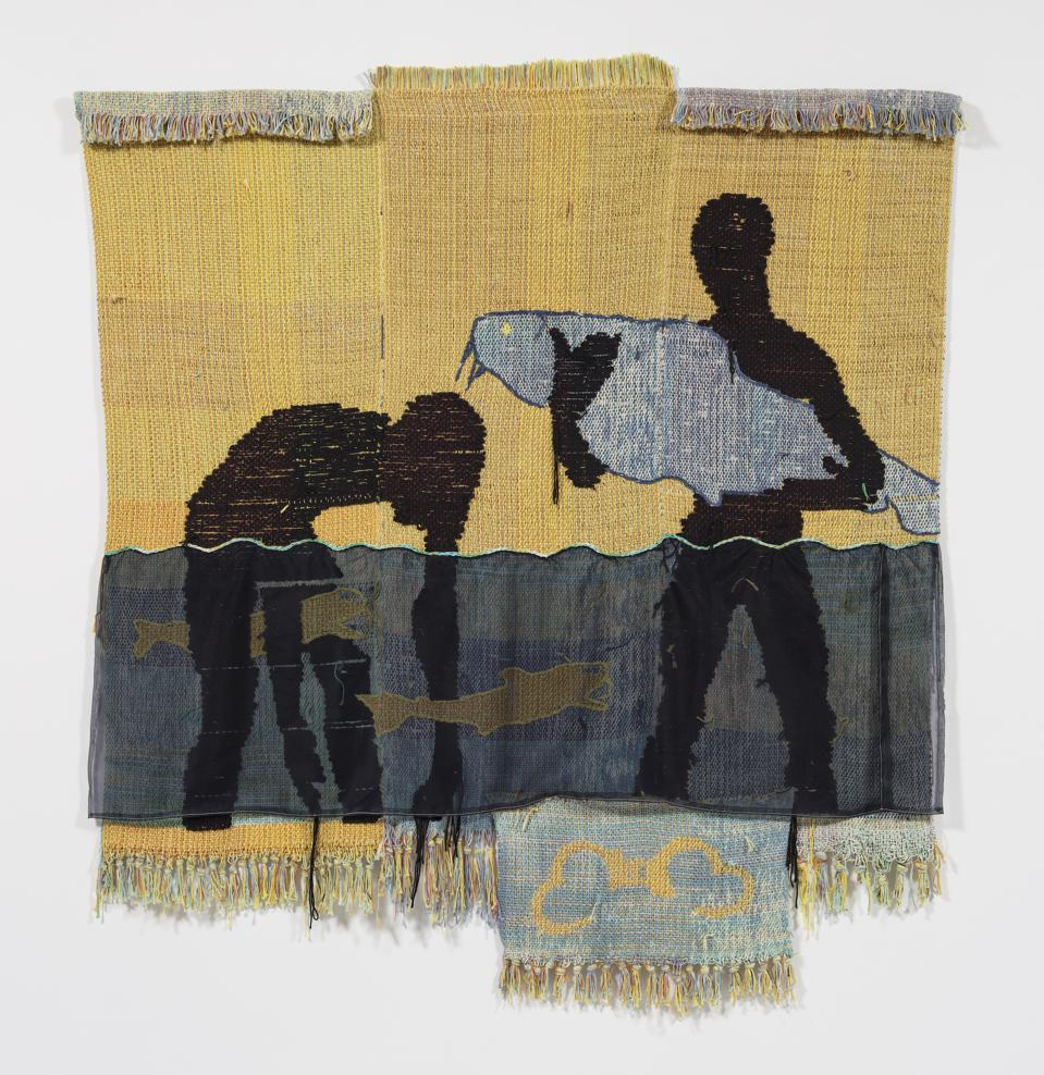 A tapestry by Diedrick Brackens that shows two men holding fish