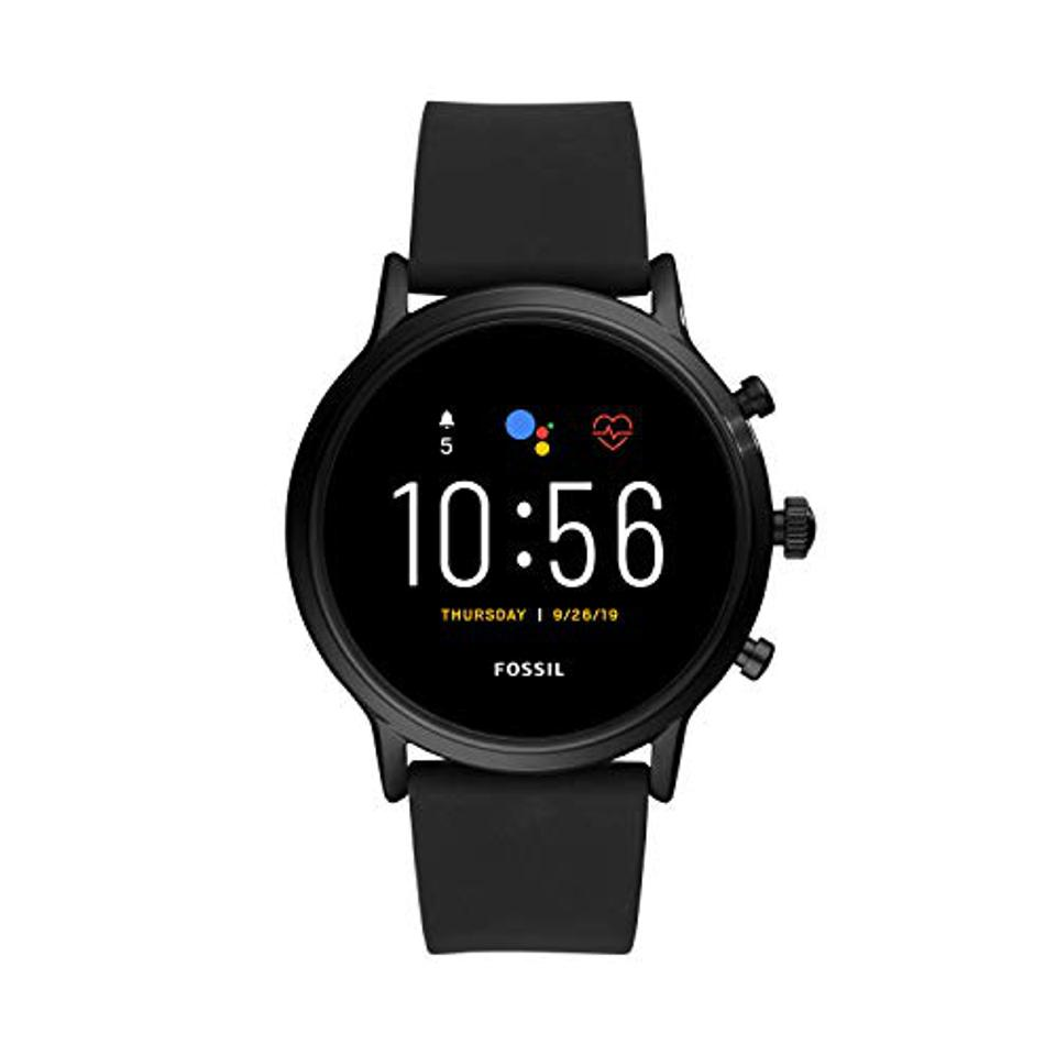 Fossil Unisex 44MM Gen 5 Carlyle HR Amazon Prime Day Heart Rate Stainless Steel and Silicone Touchscreen Smart Watch