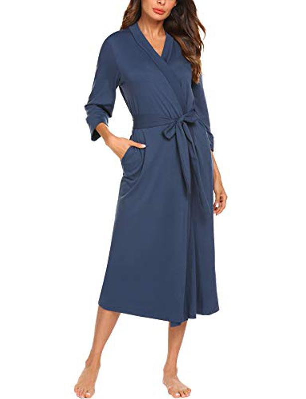Amazon Prime Day MAXMODA Women Sleep Robe Shawl Collar Wrap 3/4 Sleeve Bathrobe