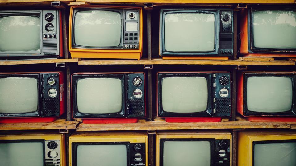 Full Frame Shot Of Old Television Sets