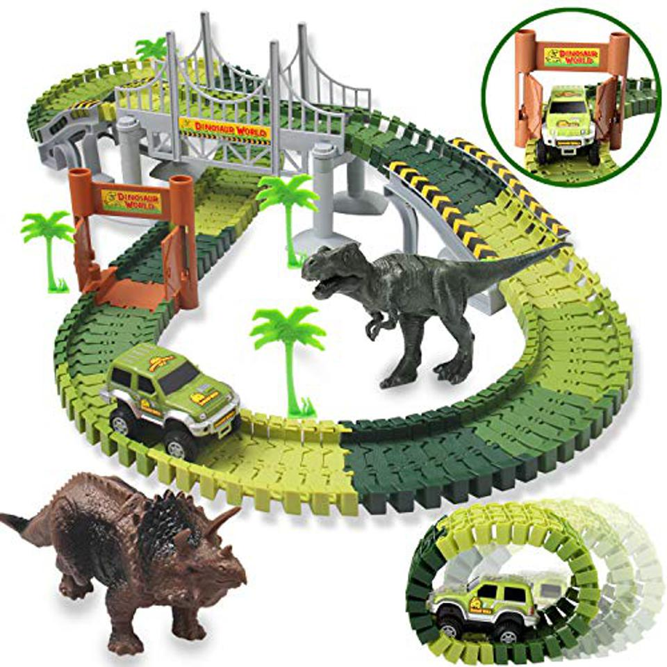HOMOFY 142 piece Race Tracks and Dinosaurs
