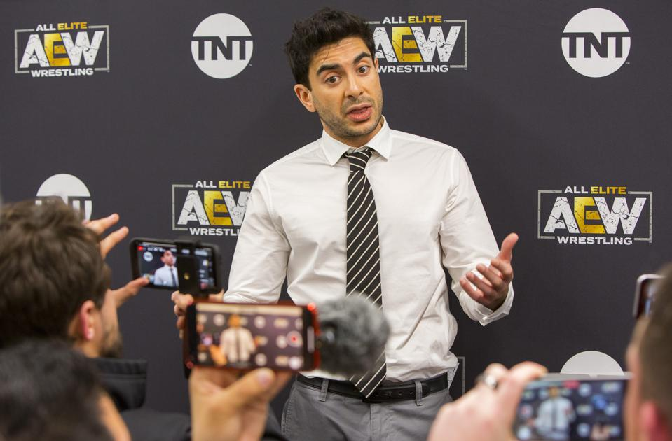 All Elite Wrestling founder, co-owner, president, and CEO Tony Khan addresses the media following AEW's Revolution pay-per-view event. Saturday, February 29, 2020 at Wintrust Arena in Chicago, IL (Photo by Barry Brecheisen)