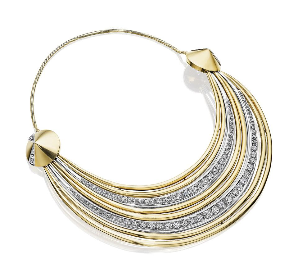 A gold, platinum, and diamond necklace by Suzanne Belperron being offered by Siegelson