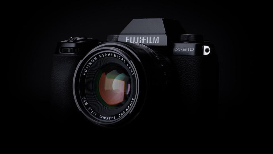 Fujifilm X-S10 on a dark background
