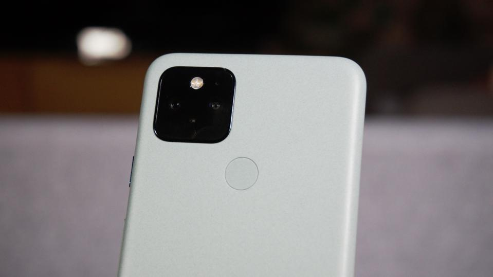 The fingerprint reader is barely noticeable on the Pixel 5.