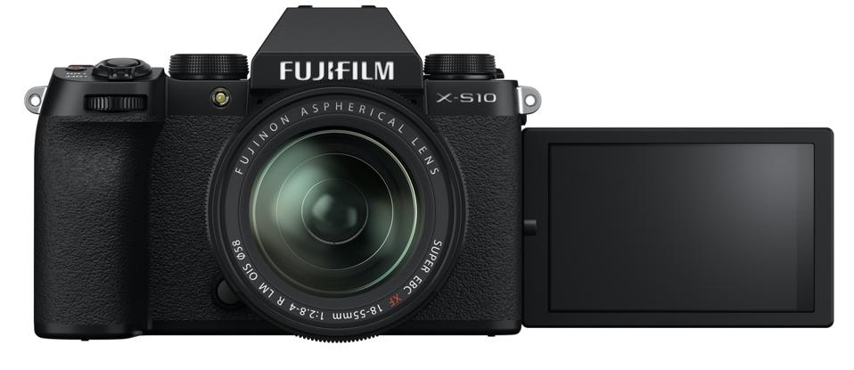 Front view of Fujifilm X-S10 with LCD screen flipped out