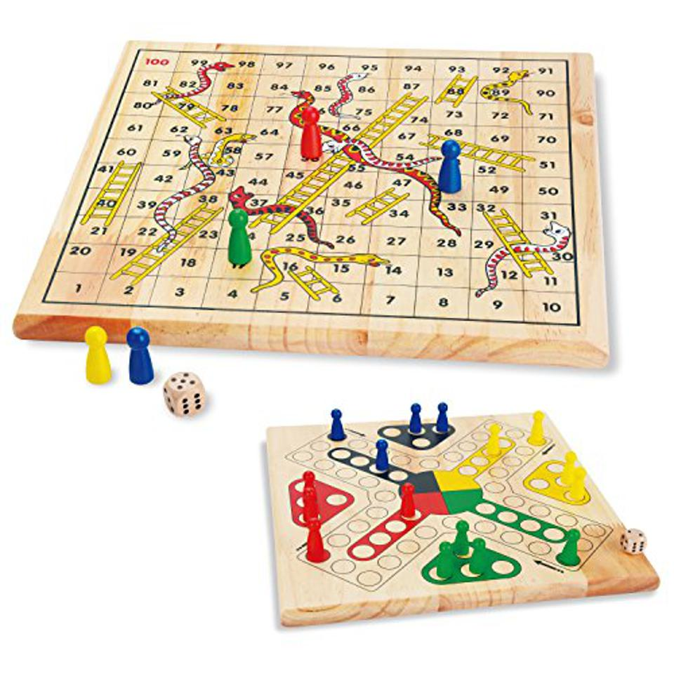ZONXIE Wooden Classic Snakes and Ladders Board Game