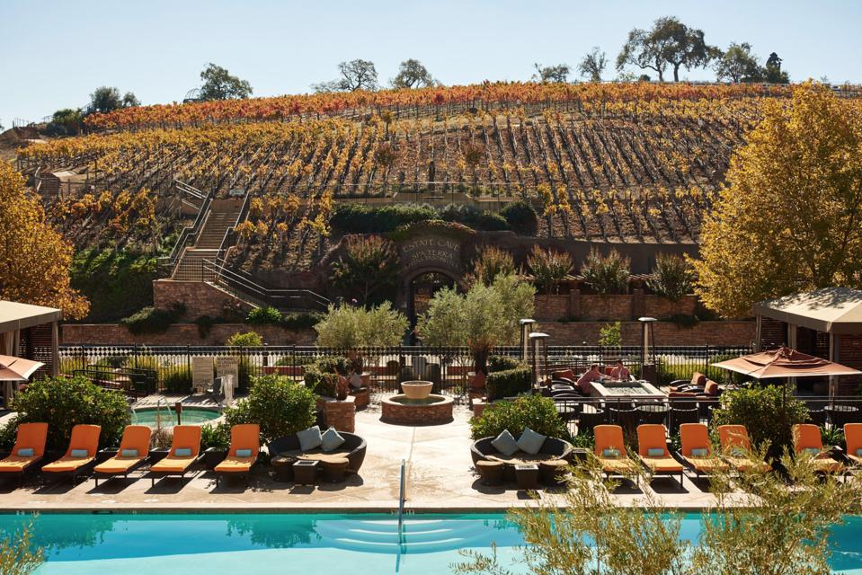 Vista Collina Resort spa entrance and pool.