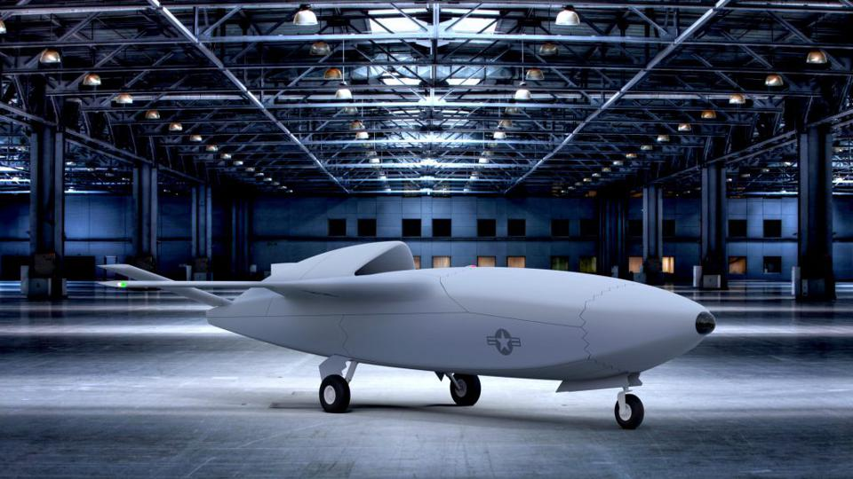 A Skyborg conceptual design for a low cost Unmanned Combat Aerial Vehicle.