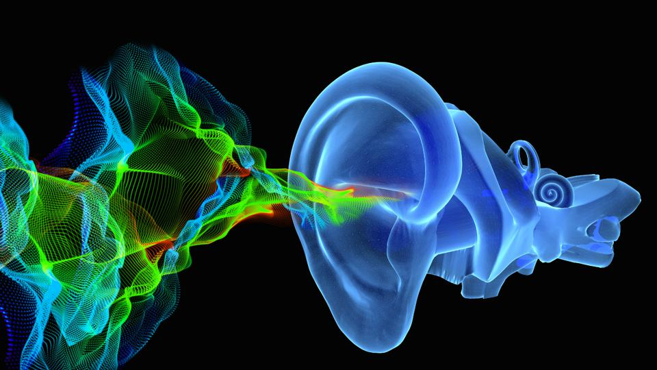sound waves going into an ear canal on a black backdrop with psychedelic colors