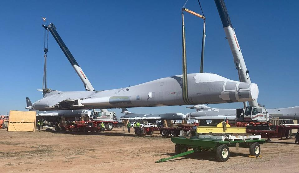 NIAR acquired a retired B-1B from the Air Force's aircraft storage unit at Davis-Monthan AFB, Arizona.