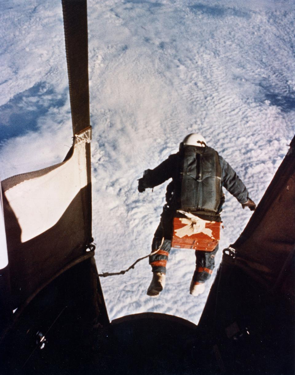 Colonel Joseph Kittinger skydiving from balloon at 102,800 feet